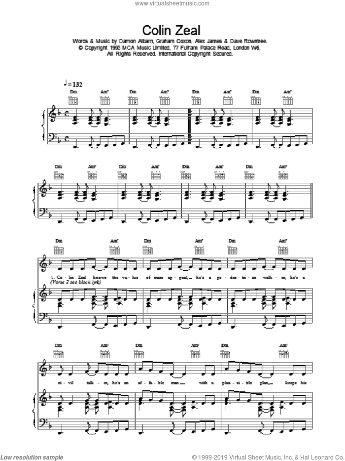 Colin Zeal sheet music for voice, piano or guitar by Blur. Score Image Preview.