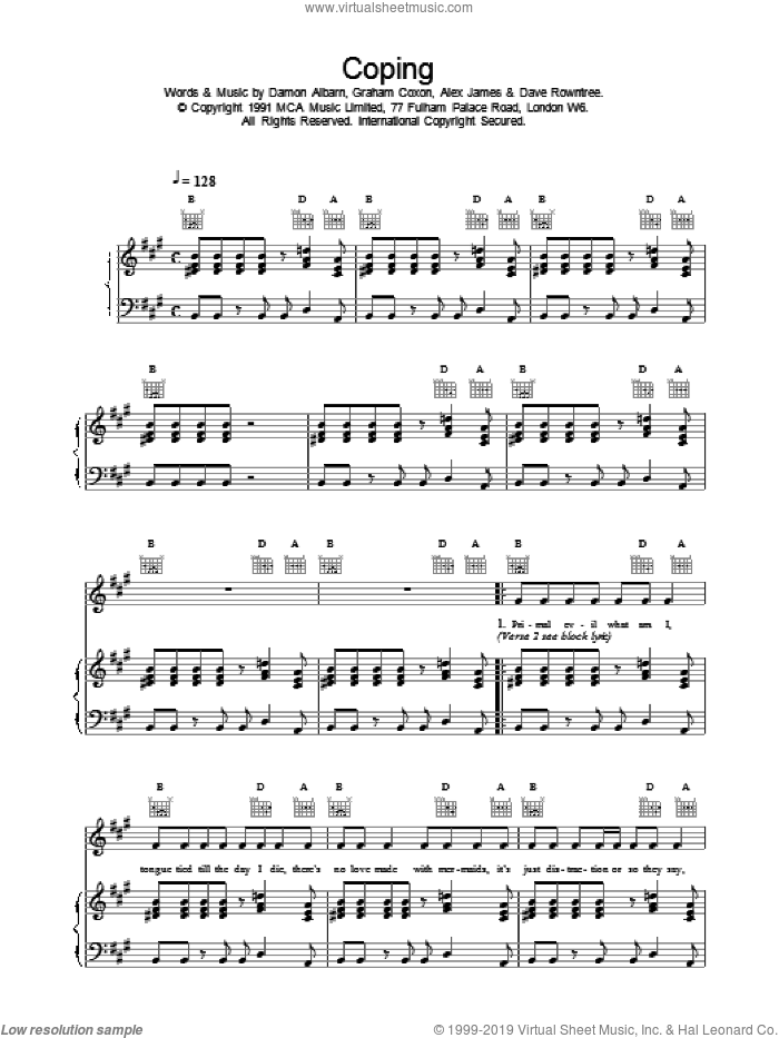 Coping sheet music for voice, piano or guitar by Blur, intermediate. Score Image Preview.