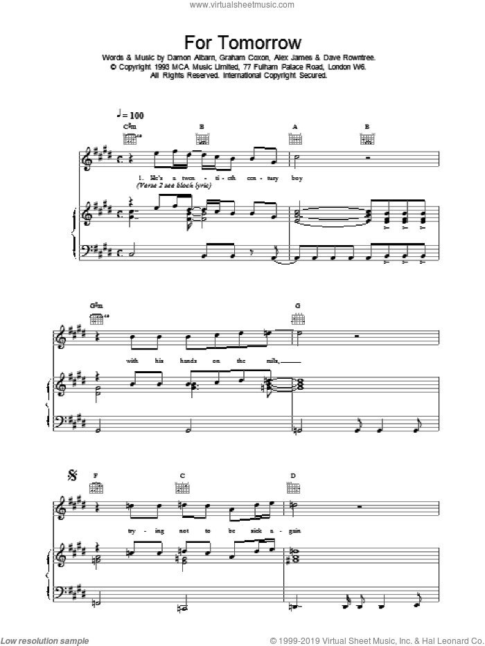 For Tomorrow sheet music for voice, piano or guitar by Blur