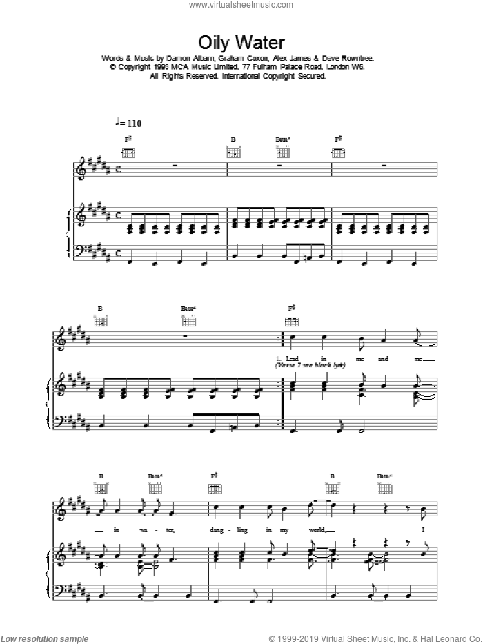 Oily Water sheet music for voice, piano or guitar by Blur