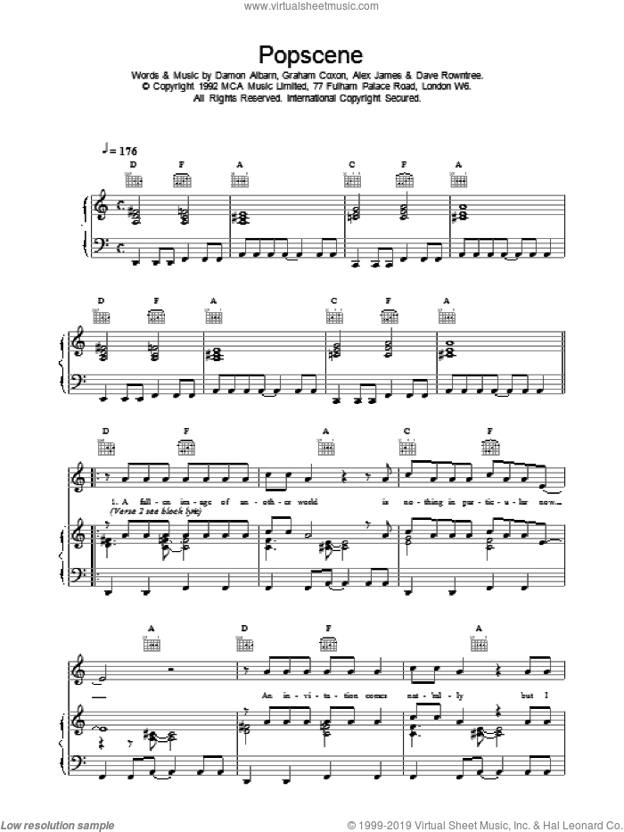 Popscene sheet music for voice, piano or guitar by Blur. Score Image Preview.