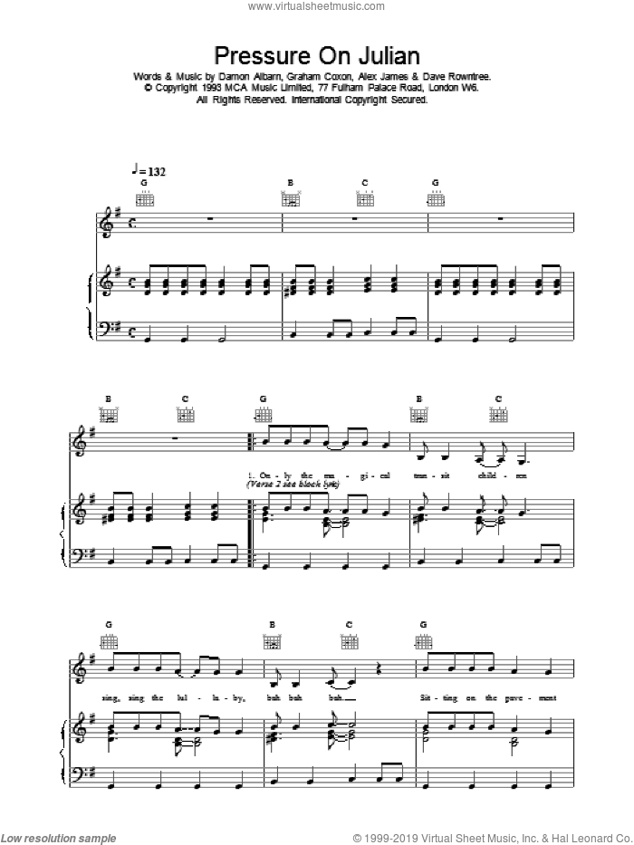 Pressure On Julian sheet music for voice, piano or guitar by Blur. Score Image Preview.
