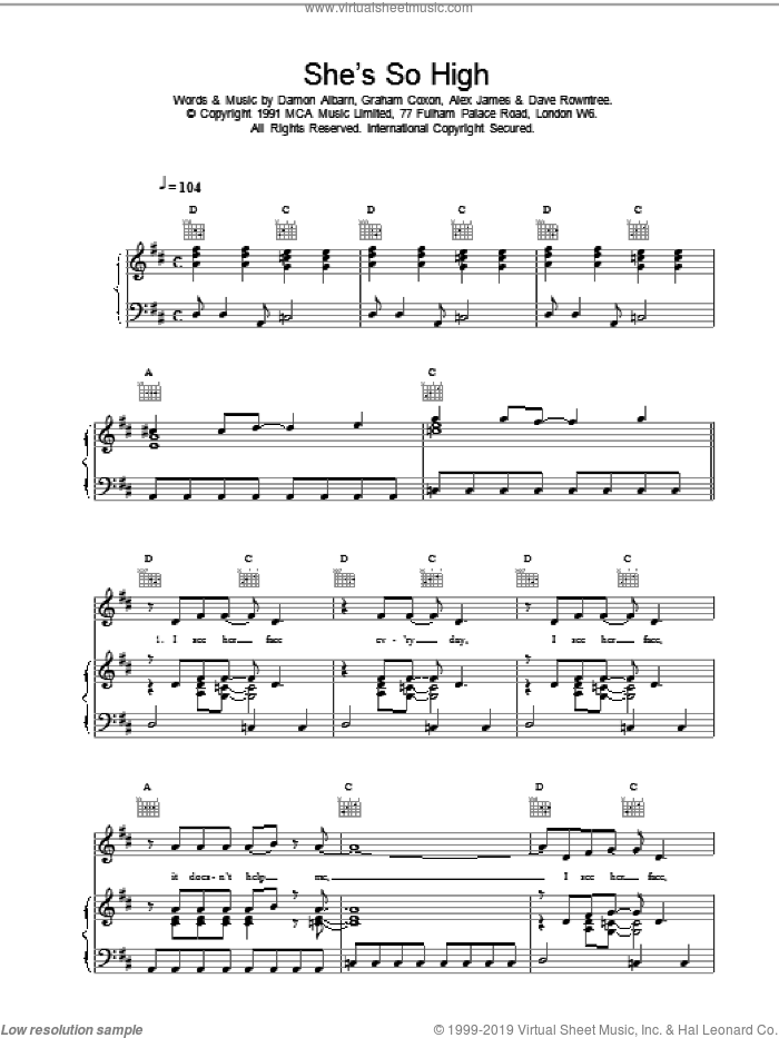 She's So High sheet music for voice, piano or guitar by Blur, intermediate voice, piano or guitar. Score Image Preview.