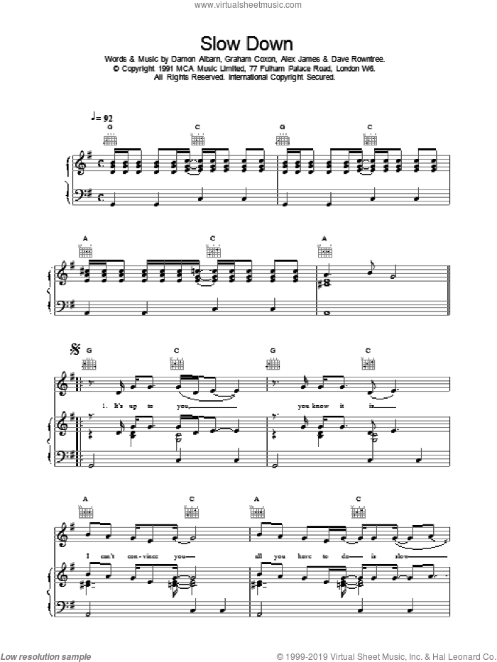 Slow Down sheet music for voice, piano or guitar by Blur. Score Image Preview.