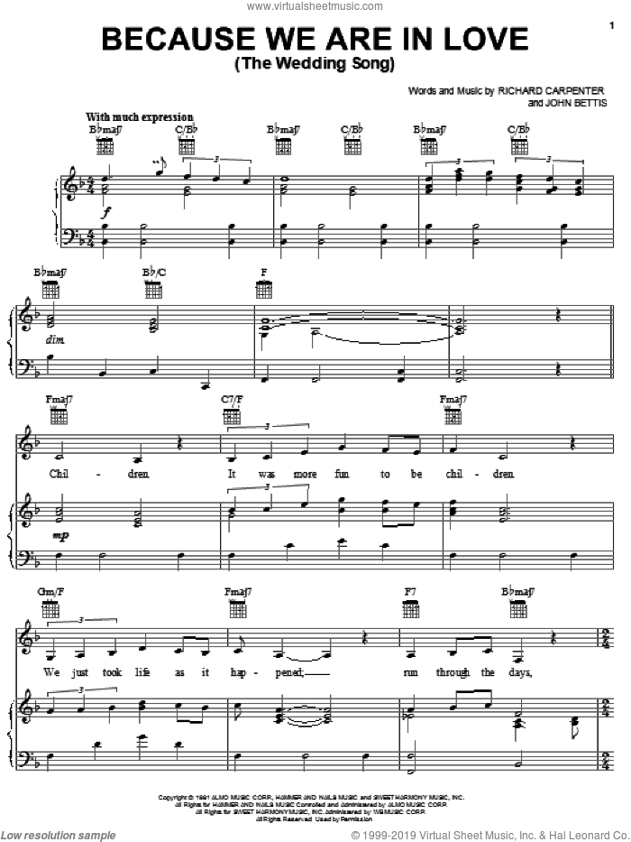 Because We Are In Love (The Wedding Song) sheet music for voice, piano or guitar by Carpenters, John Bettis and Richard Carpenter, wedding score, intermediate skill level