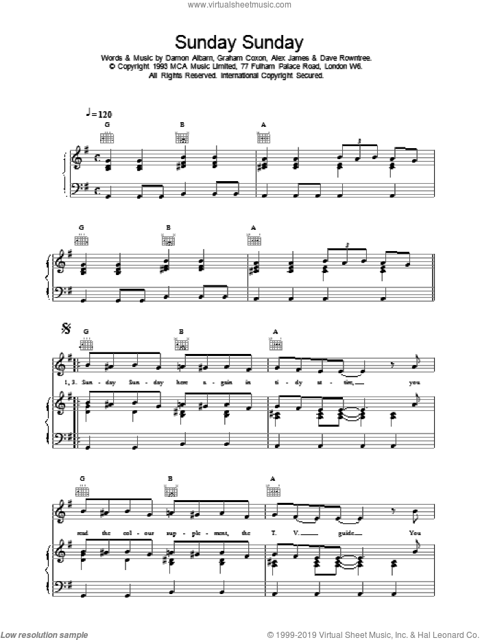 Sunday Sunday sheet music for voice, piano or guitar by Blur. Score Image Preview.