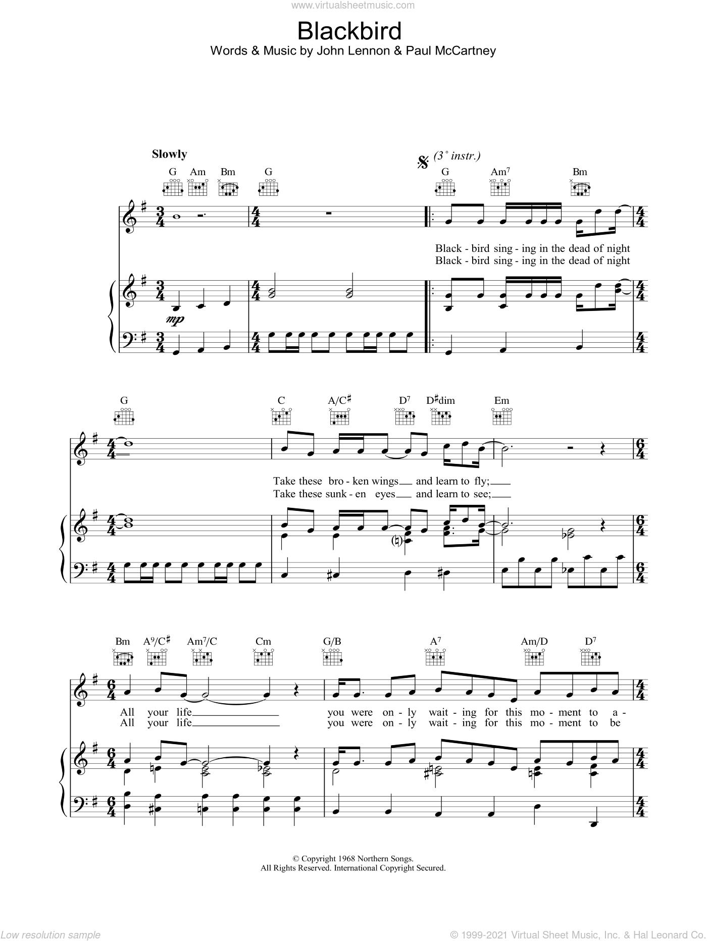 Blackbird sheet music for voice, piano or guitar by The Beatles, John Lennon and Paul McCartney, intermediate skill level