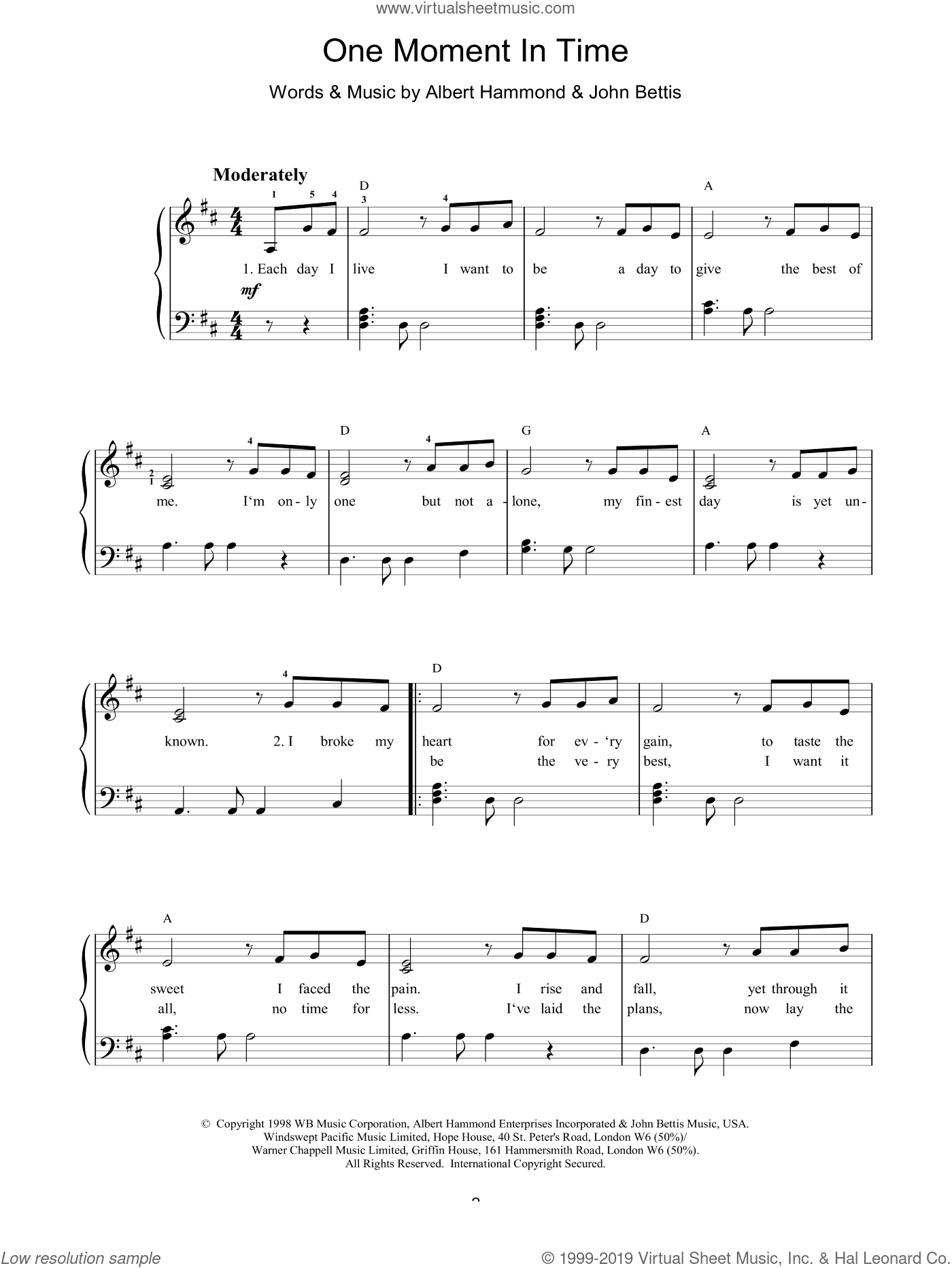 One Moment In Time sheet music for piano solo by Whitney Houston, Albert Hammond and John Bettis, easy skill level