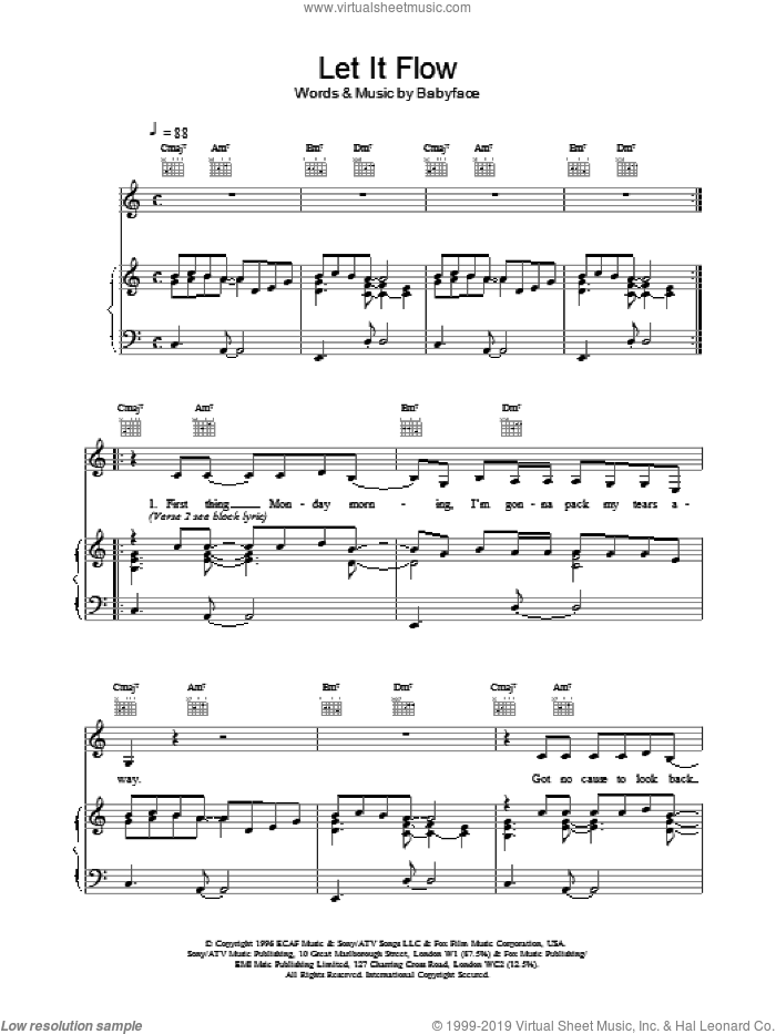 Let It Flow sheet music for voice, piano or guitar by Tim Wheeler
