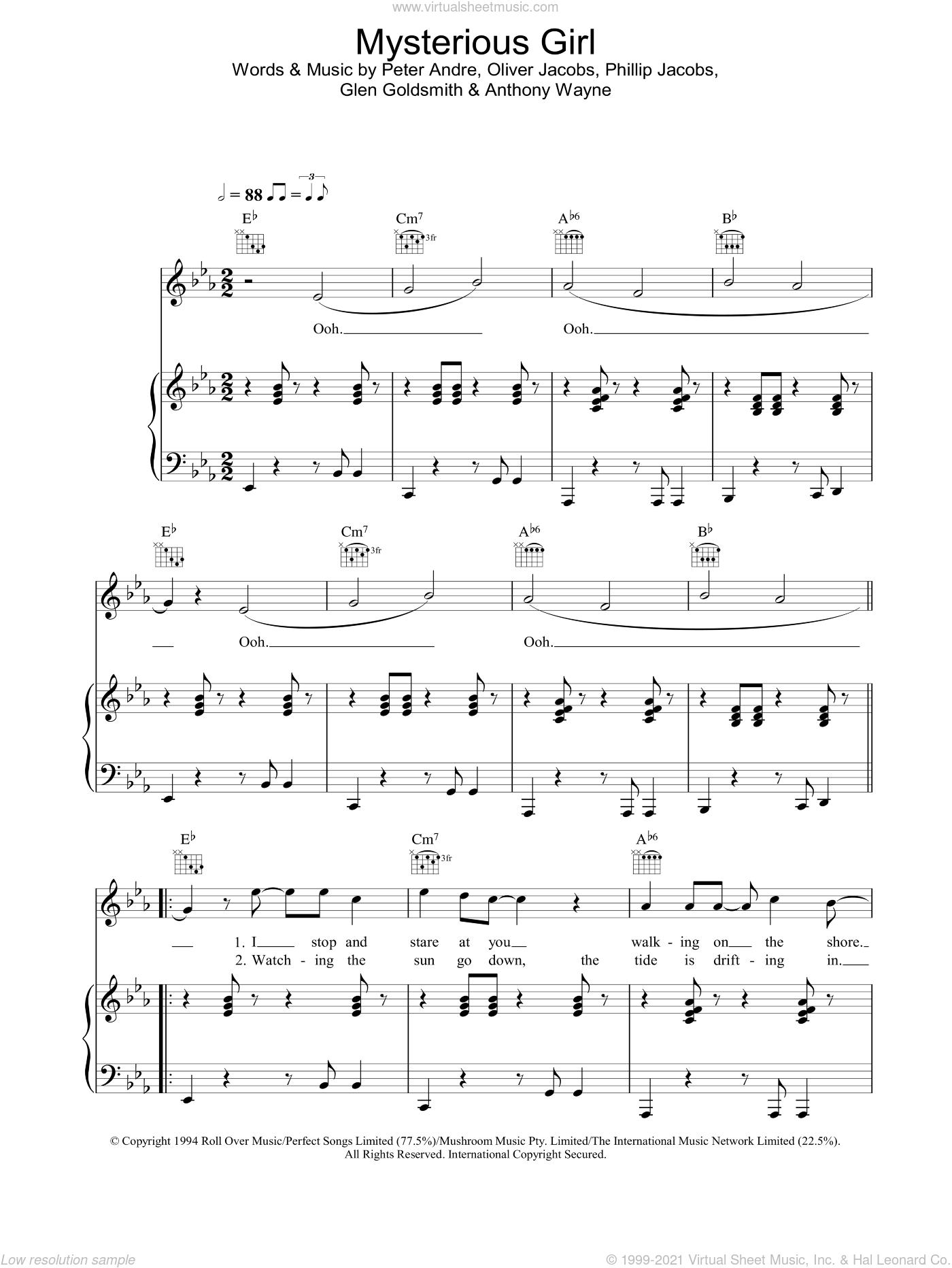 Mysterious Girl sheet music for voice, piano or guitar by Peter Andre, intermediate skill level