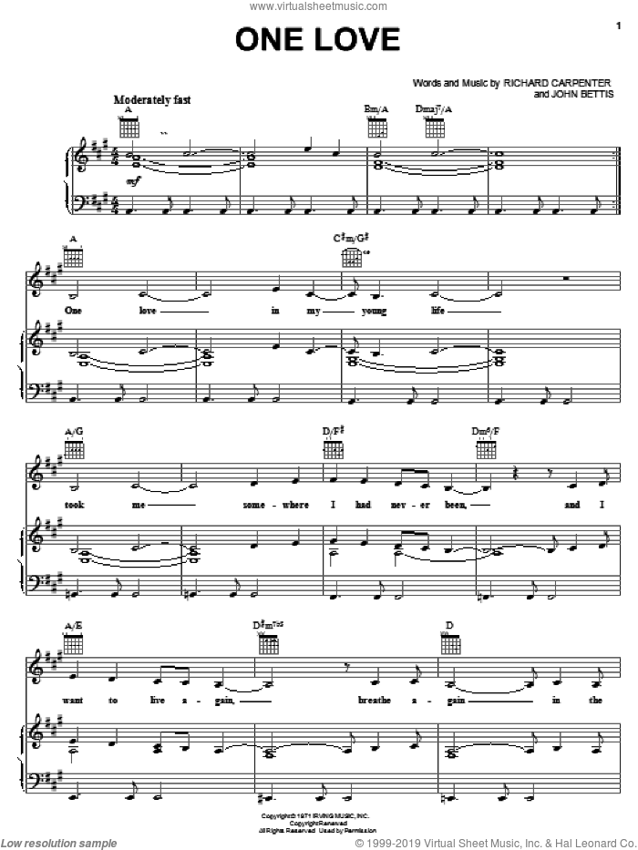 One Love sheet music for voice, piano or guitar by Carpenters, John Bettis and Richard Carpenter, intermediate skill level