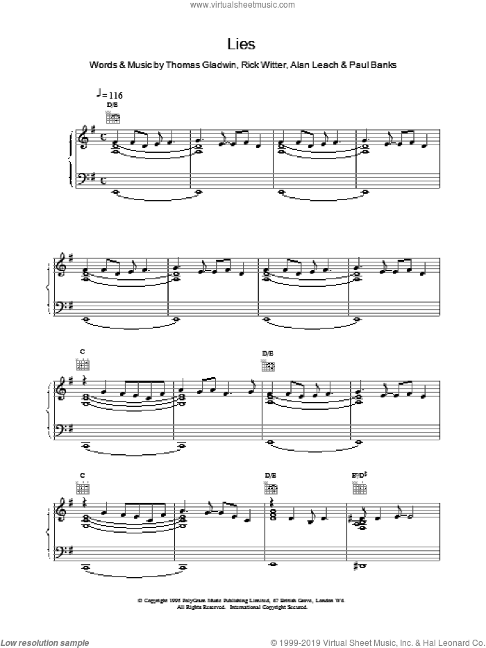 Lies sheet music for voice, piano or guitar by Shed Seven