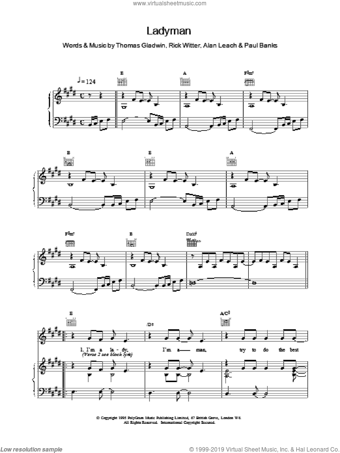 Ladyman sheet music for voice, piano or guitar by Shed Seven, intermediate skill level