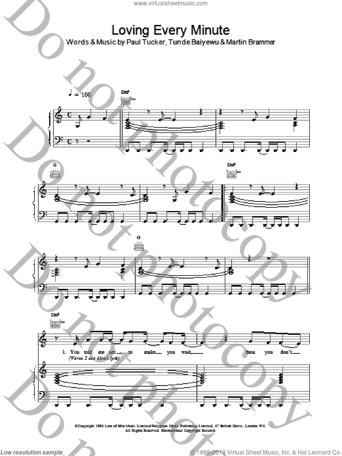 Loving Every Minute sheet music for voice, piano or guitar by Lighthouse Family