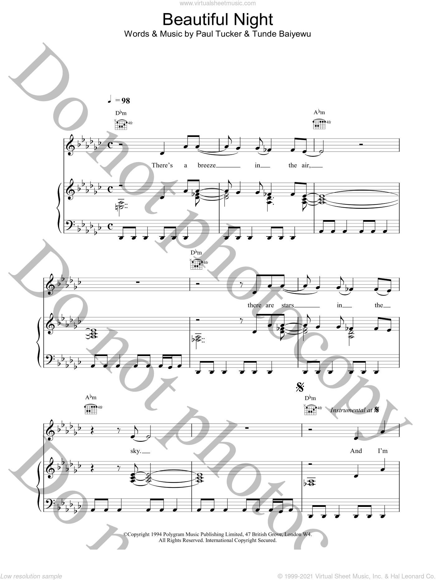 Beautiful Night sheet music for voice, piano or guitar by Lighthouse Family, intermediate