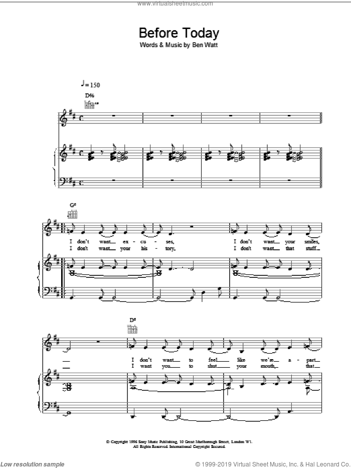 Before Today sheet music for voice, piano or guitar by Everything But The Girl, intermediate skill level