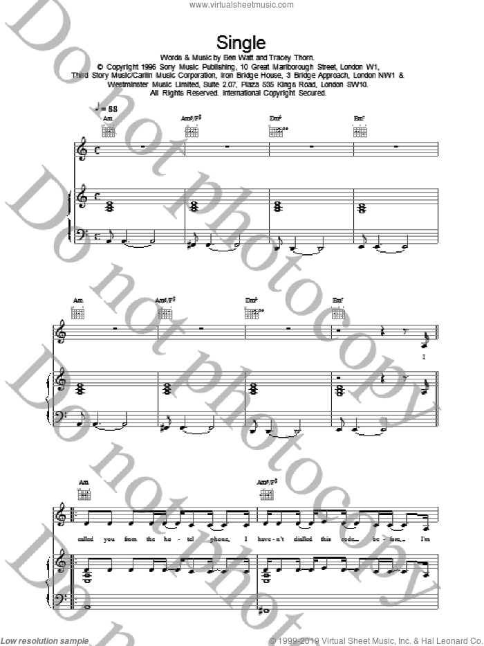 Single sheet music for voice, piano or guitar by Everything But The Girl