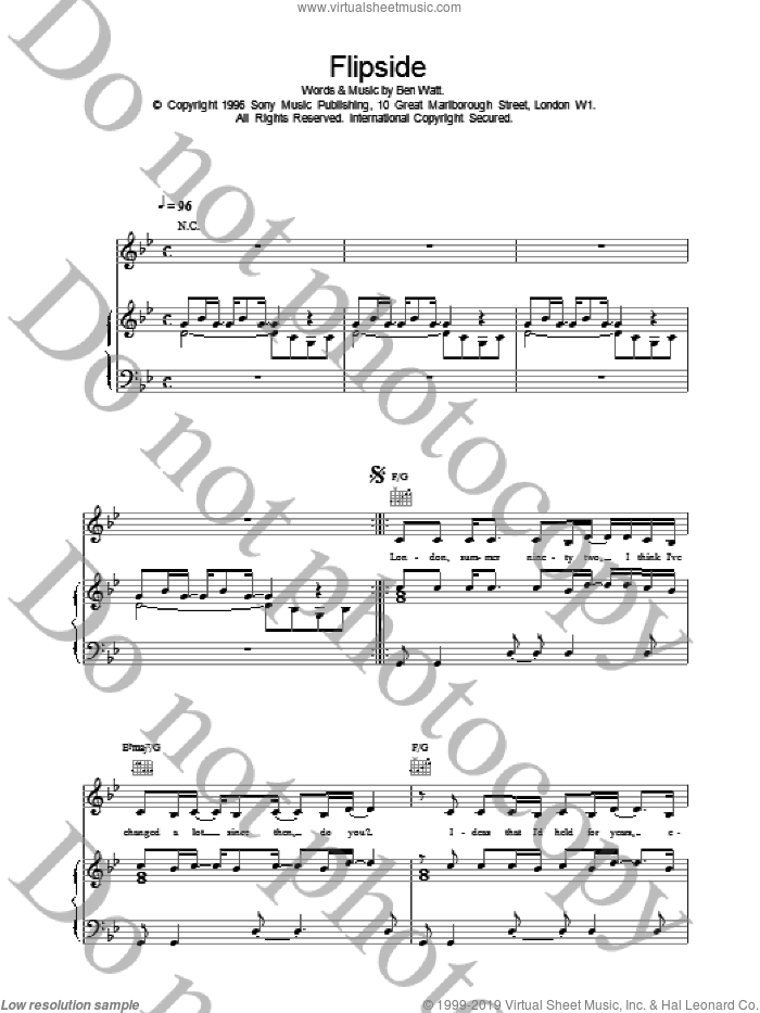 Flipside sheet music for voice, piano or guitar by Everything But The Girl, intermediate skill level