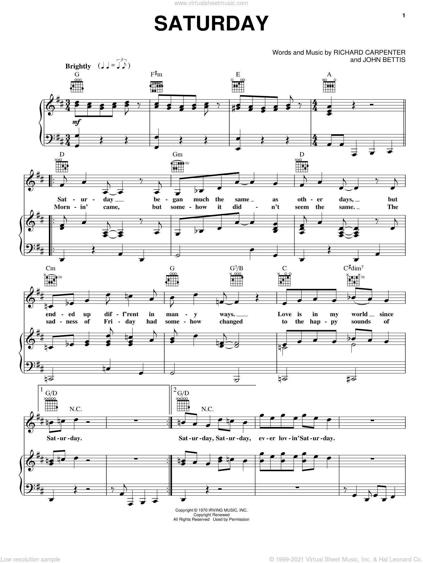 Saturday sheet music for voice, piano or guitar by Carpenters, John Bettis and Richard Carpenter, intermediate skill level