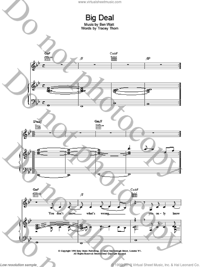 Big Deal sheet music for voice, piano or guitar by Everything But The Girl. Score Image Preview.