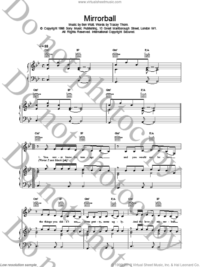 Mirrorball sheet music for voice, piano or guitar by Everything But The Girl, intermediate skill level