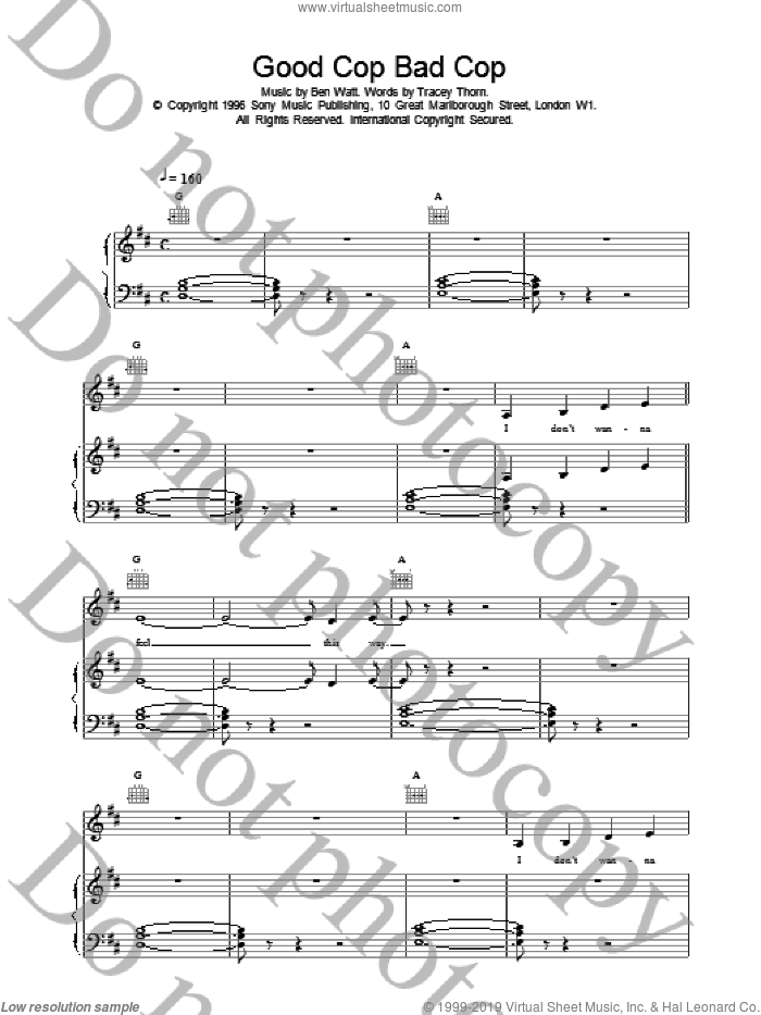 Good Cop Bad Cop sheet music for voice, piano or guitar by Everything But The Girl, intermediate skill level