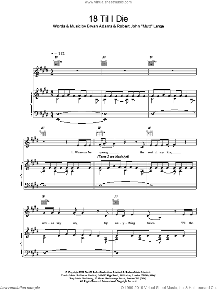18 Til I Die sheet music for voice, piano or guitar by Bryan Adams, intermediate skill level