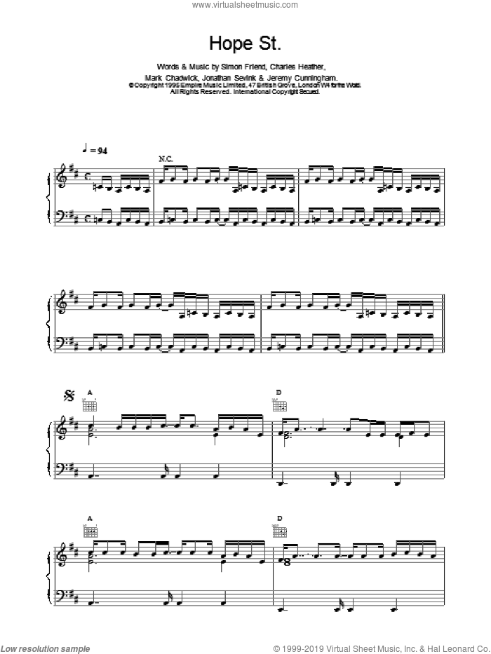 Hope Street sheet music for voice, piano or guitar by The Levellers, intermediate skill level