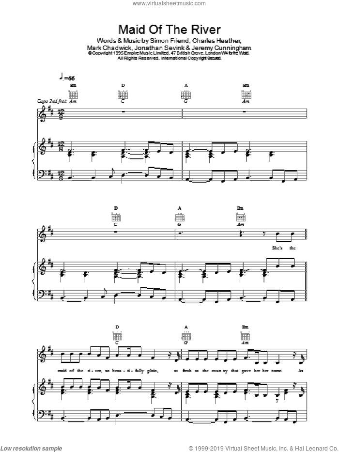 Maid Of The River sheet music for voice, piano or guitar by The Levellers, intermediate skill level