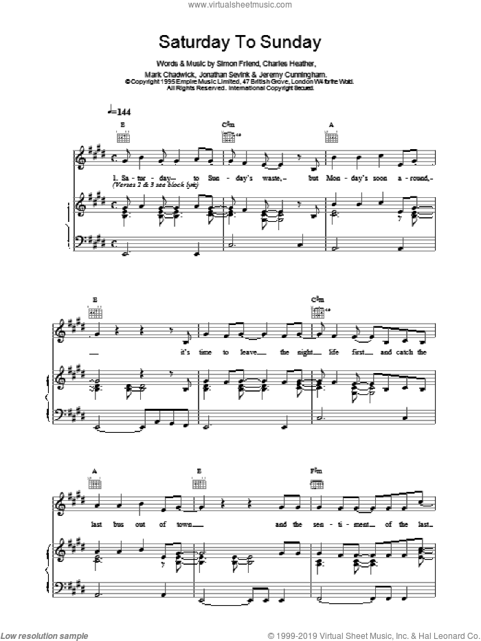 Saturday To Sunday sheet music for voice, piano or guitar by The Levellers, intermediate. Score Image Preview.