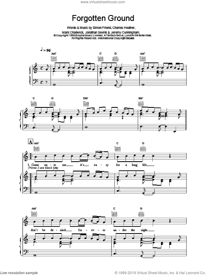 Forgotten Ground sheet music for voice, piano or guitar by The Levellers, intermediate. Score Image Preview.