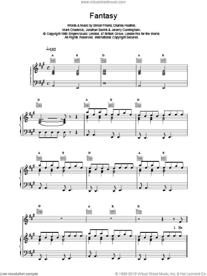 Fantasy sheet music for voice, piano or guitar by The Levellers