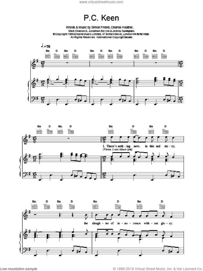 P.C. Keen sheet music for voice, piano or guitar by The Levellers. Score Image Preview.