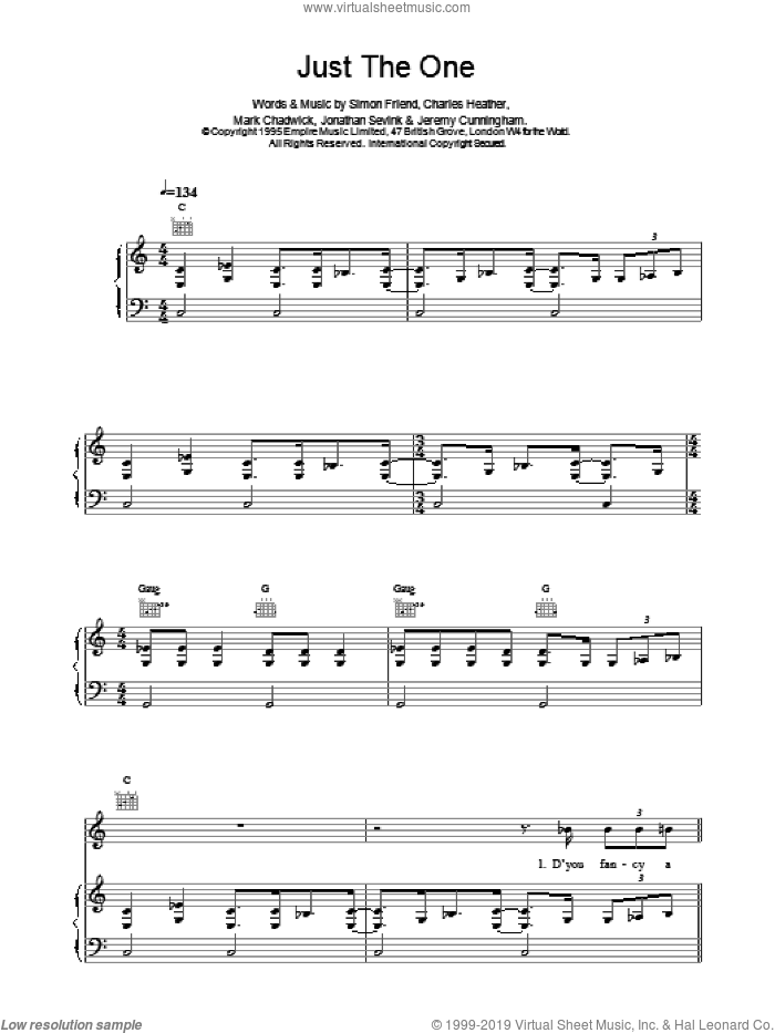 Just The One sheet music for voice, piano or guitar by The Levellers