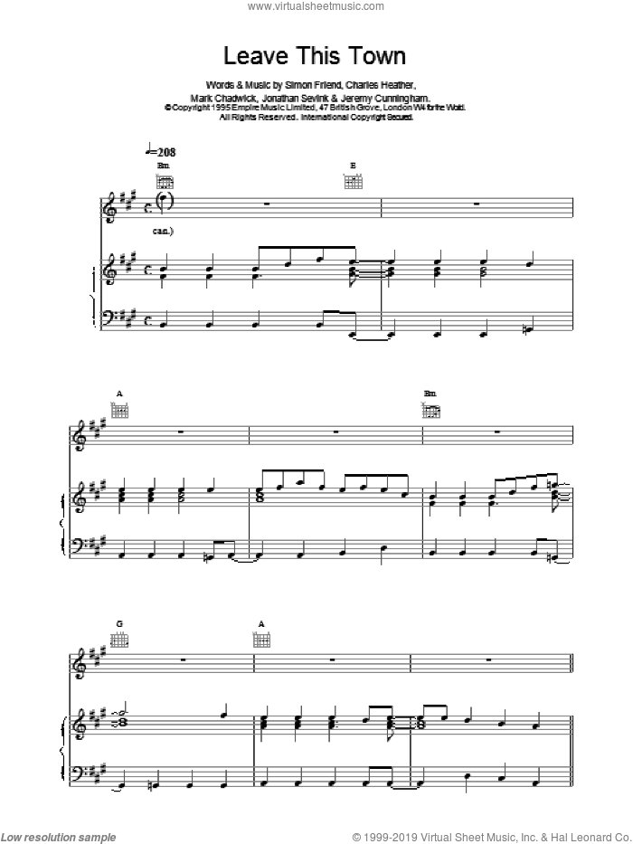 Leave This Town sheet music for voice, piano or guitar by The Levellers, intermediate. Score Image Preview.
