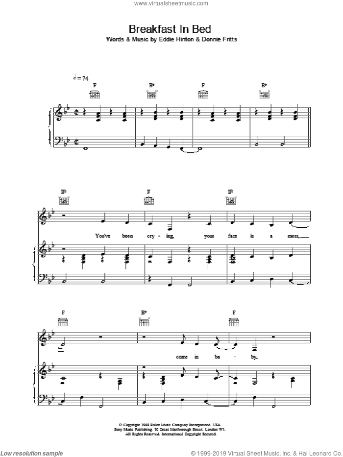 Breakfast In Bed sheet music for voice, piano or guitar by UB40. Score Image Preview.
