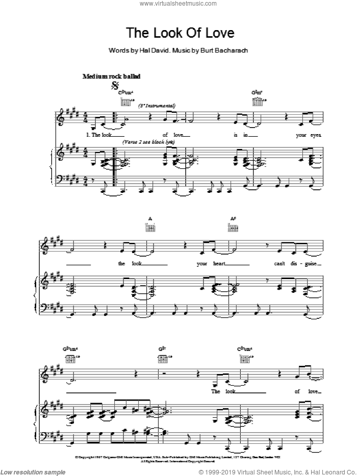 The Look Of Love sheet music for voice, piano or guitar by Bacharach & David, Dionne Warwick, Isaac Hayes, Burt Bacharach and Hal David, intermediate. Score Image Preview.