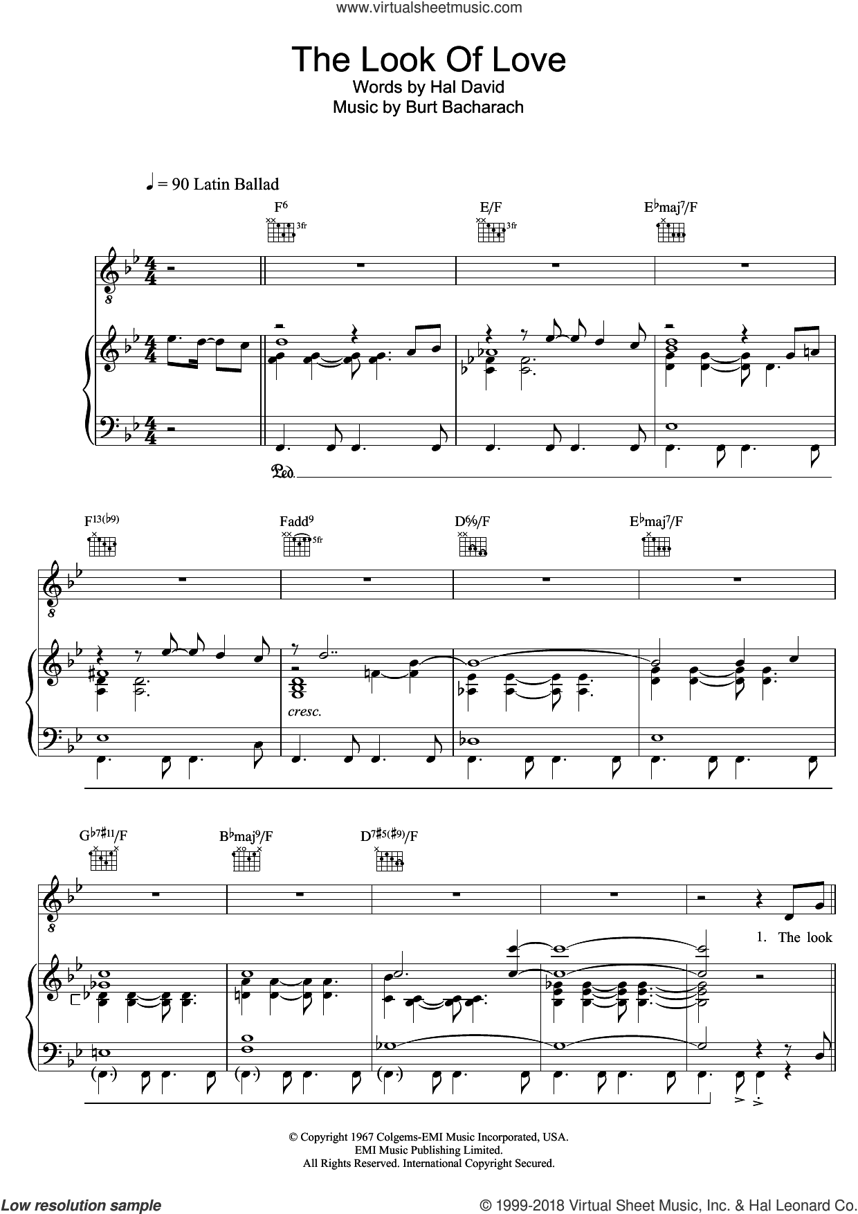 The Look Of Love sheet music for voice, piano or guitar by Bacharach & David, Andy Williams, Diana Krall, Burt Bacharach, Dusty Springfield and Hal David, intermediate skill level