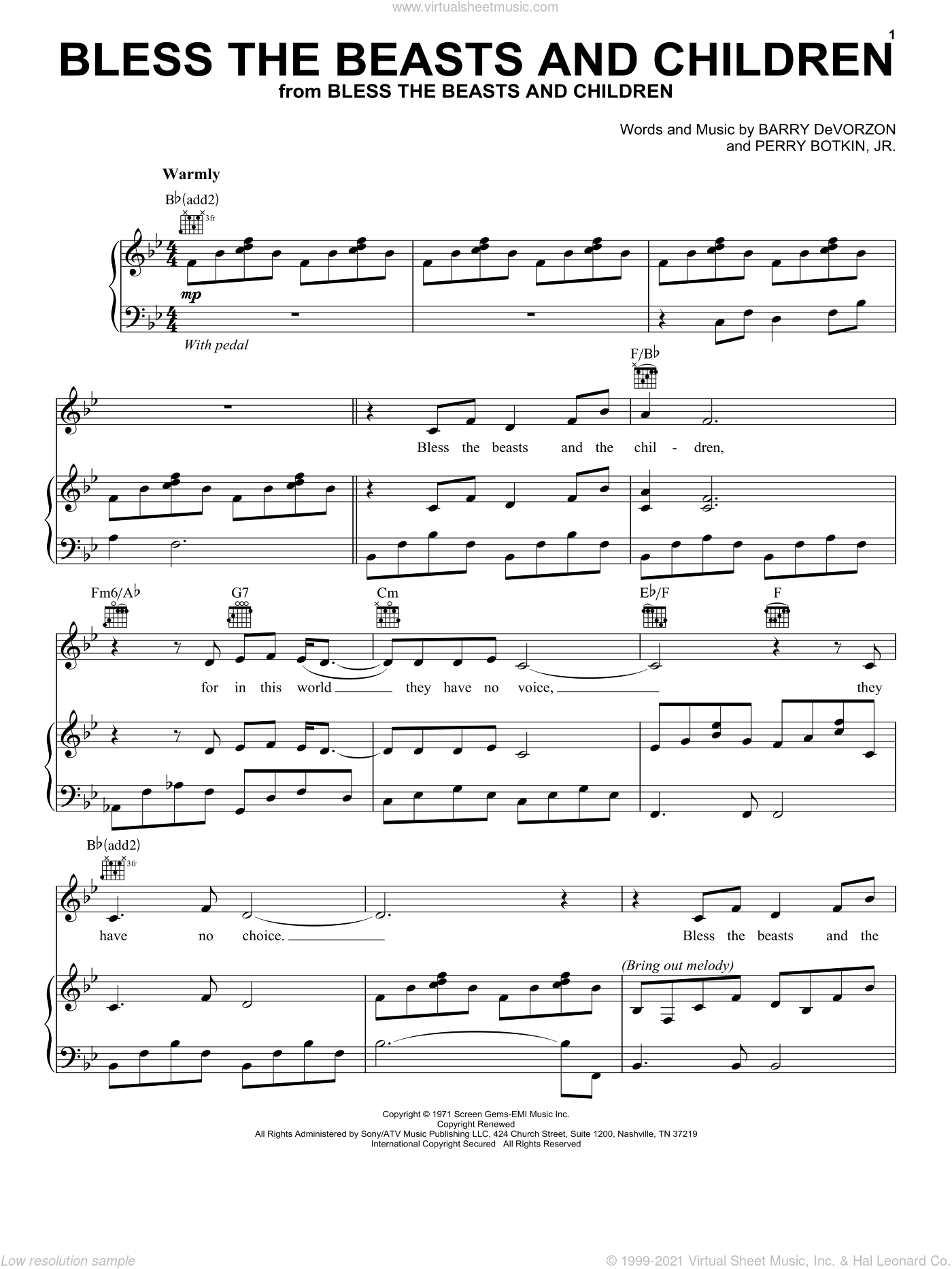 Bless The Beasts And Children sheet music for voice, piano or guitar by Carpenters, Four Non Blondes, Shirley Bassey, Barry DeVorzon and Perry Botkin, Jr., intermediate skill level