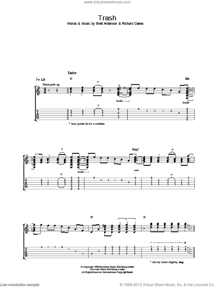 Trash sheet music for guitar (tablature) by Suede. Score Image Preview.