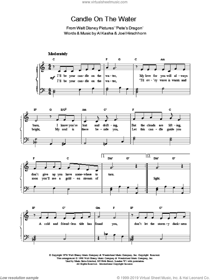 Candle On The Water, (intermediate) sheet music for piano solo by Al Kasha and J Hirschhorn, wedding score, intermediate skill level