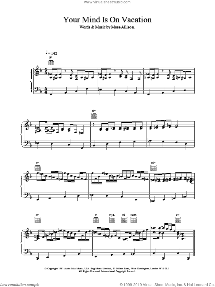 Your Mind Is On Vacation sheet music for voice, piano or guitar by Van Morrison. Score Image Preview.