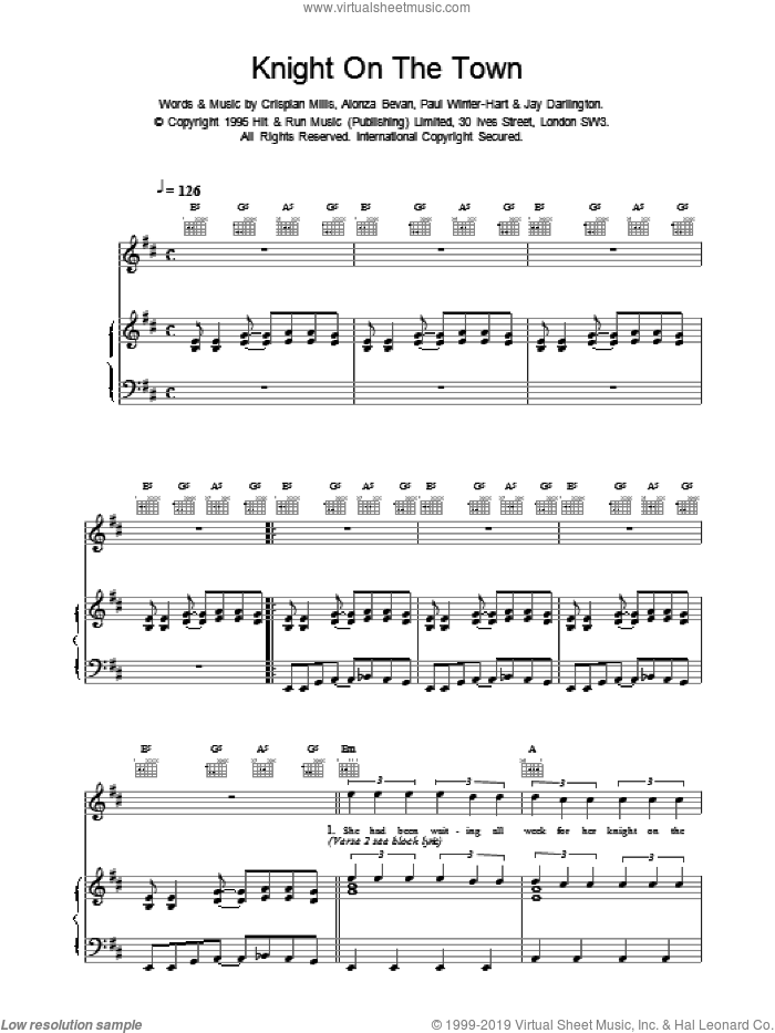 Knight On The Town sheet music for voice, piano or guitar by Kula Shaker. Score Image Preview.