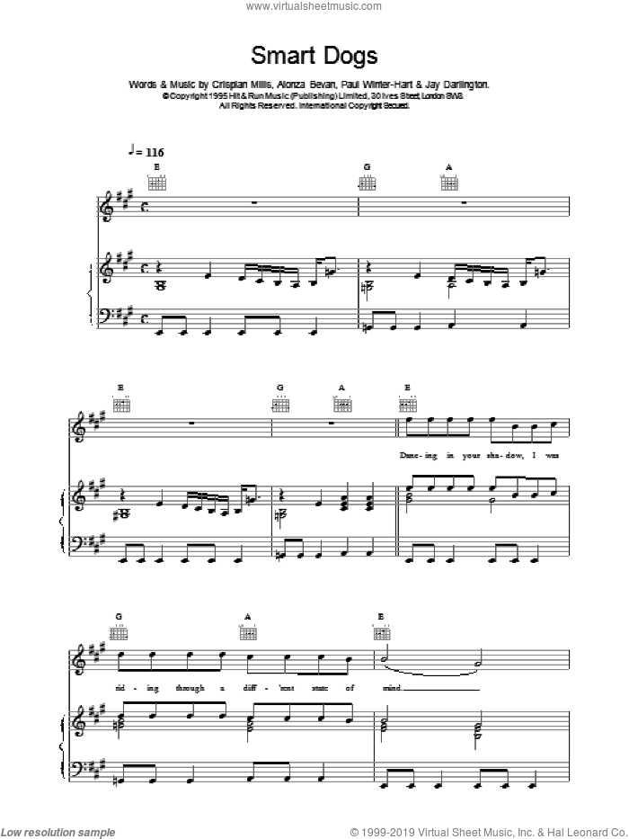 Smart Dogs sheet music for voice, piano or guitar by Kula Shaker. Score Image Preview.