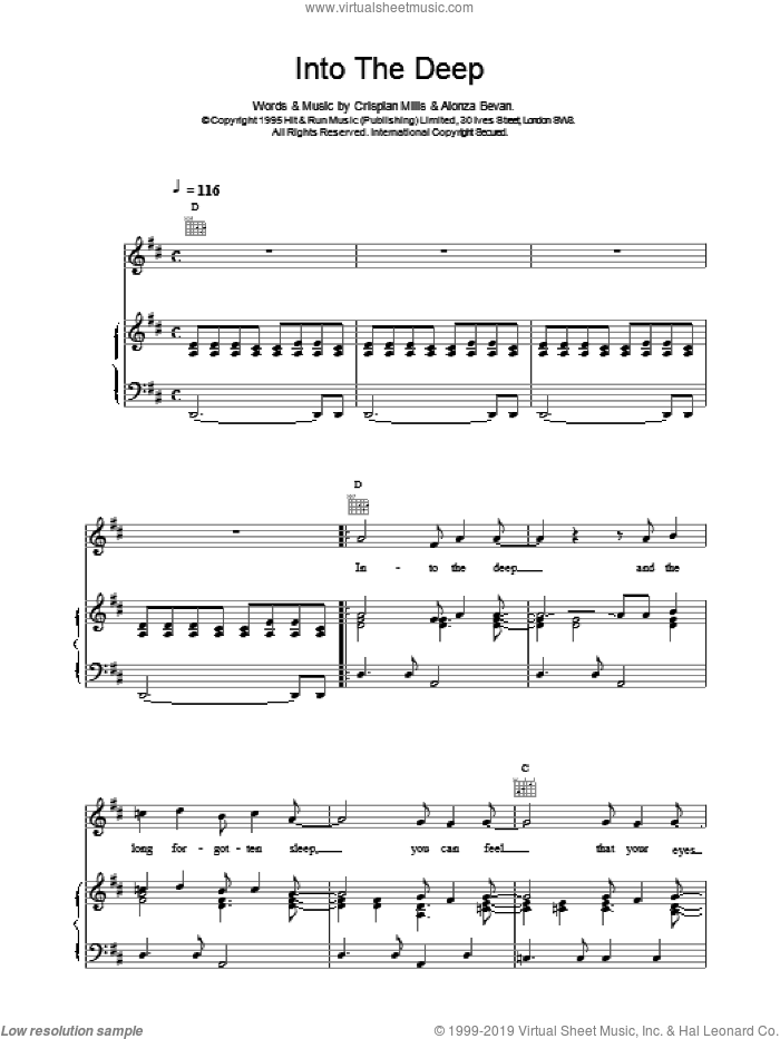 Into The Deep sheet music for voice, piano or guitar by Kula Shaker, intermediate skill level