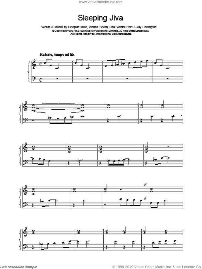 Sleeping Jiva sheet music for voice, piano or guitar by Kula Shaker. Score Image Preview.