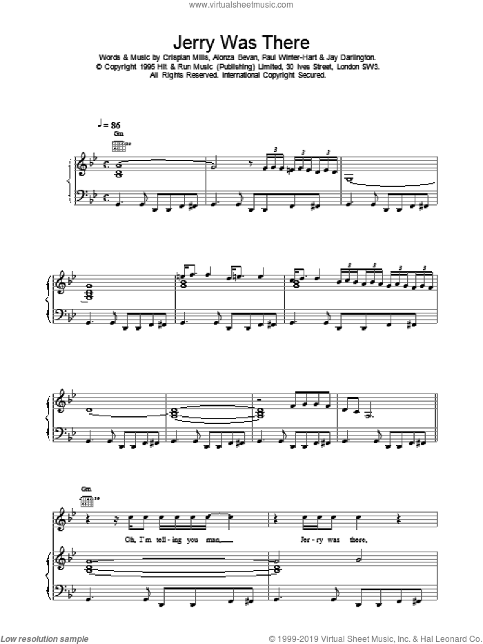 Jerry Was There sheet music for voice, piano or guitar by Kula Shaker, intermediate. Score Image Preview.