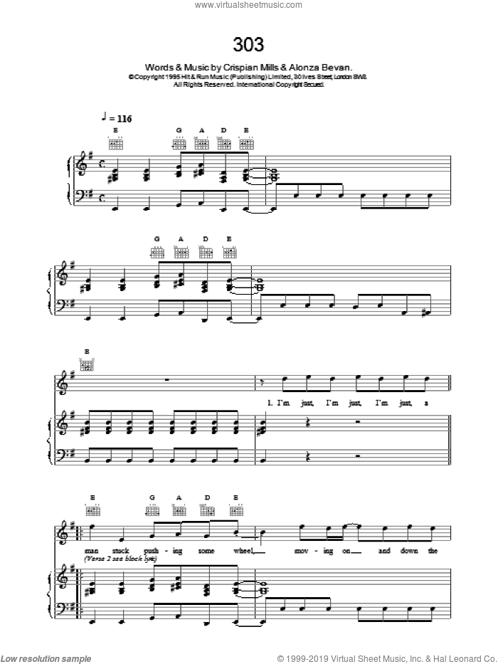 303 sheet music for voice, piano or guitar by Kula Shaker