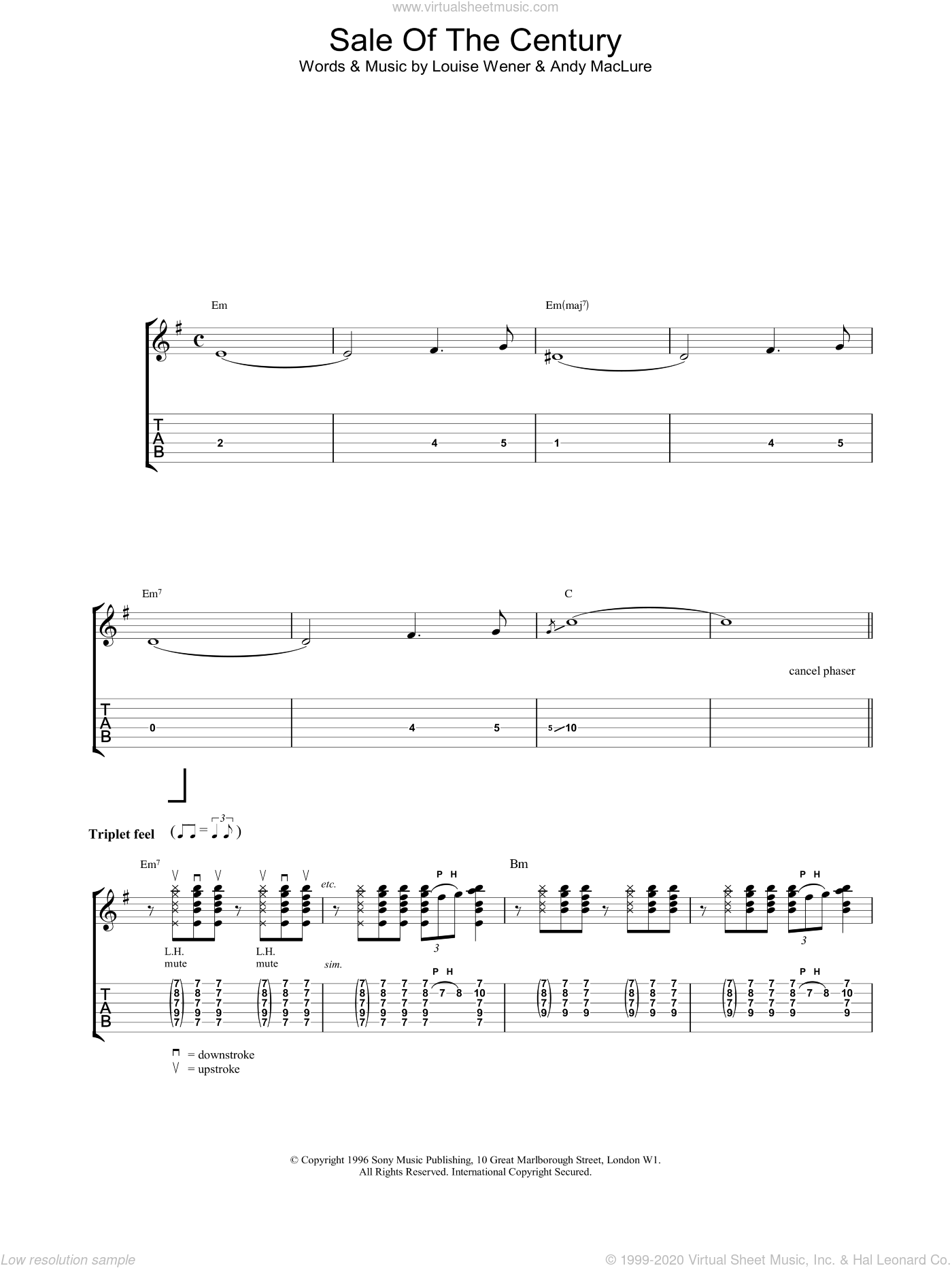 Sale Of The Century sheet music for guitar (tablature) by Sleeper. Score Image Preview.