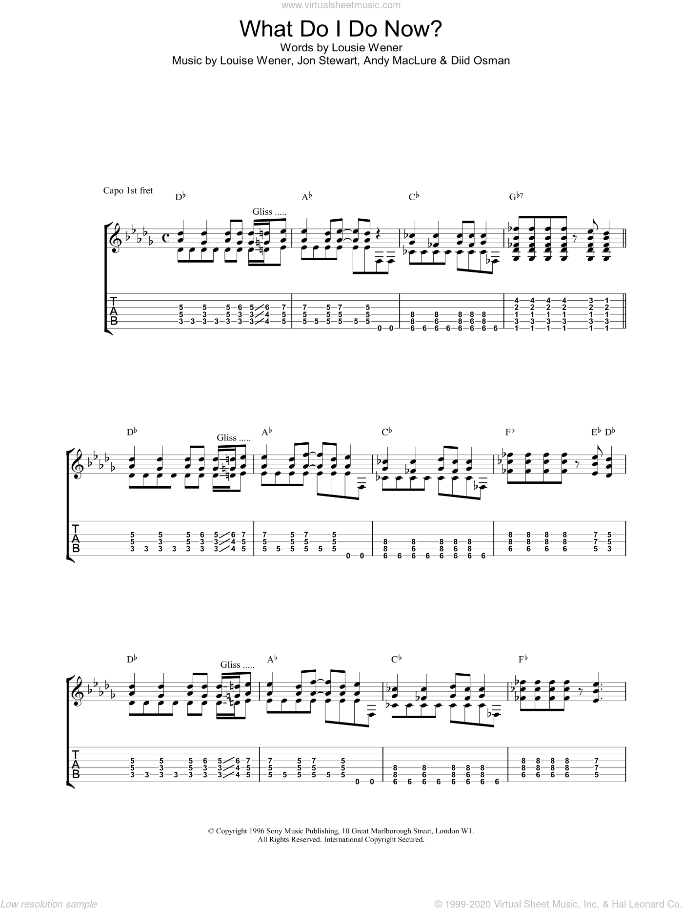 What Do I Do Now? sheet music for guitar (tablature) by Sleeper, intermediate skill level